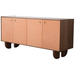 Profile Credenza in Walnut and Natural Leather