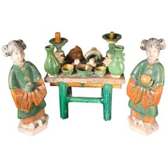 Important Ancient Chinese Antique Banquet Table with Attendants Ming 1368-1644