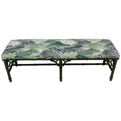 Faux Bamboo Chinoiserie-Style Blue and Green Bench