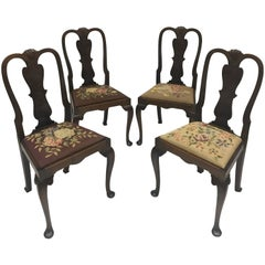 English Needlepoint Dining Chairs, Set of Four