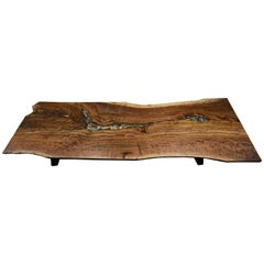 Live Edge Walnut Slab Dining Table with Tide Pools and Rocks