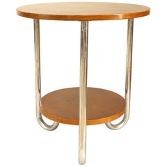 French Art Deco Round Fruitwood and Triple Chrome Leg End Table