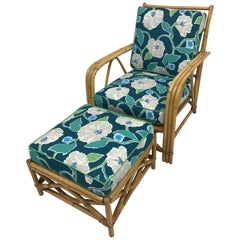 Brown Rattan Ficks Reed Armchair and Ottoman, Set of Two