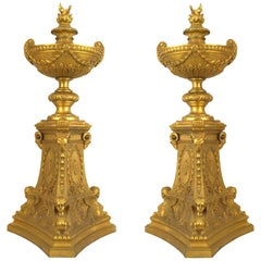 Pair of French Empire 19th Century Gilt Bronze Urns