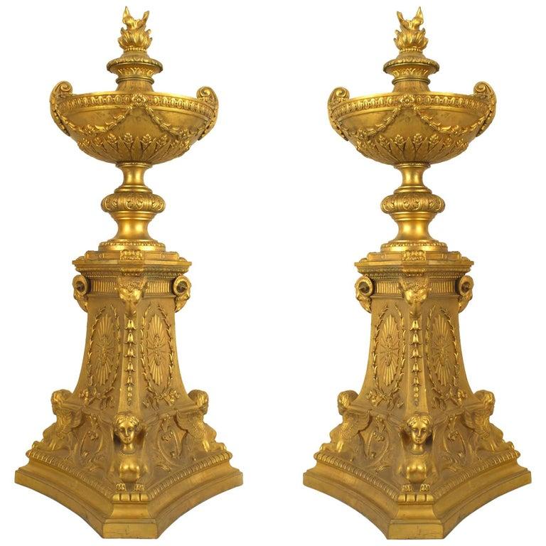 Pair of French Empire 19th Century Gilt Bronze Urns