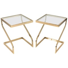 Pair of Brass Cantilever Side Tables