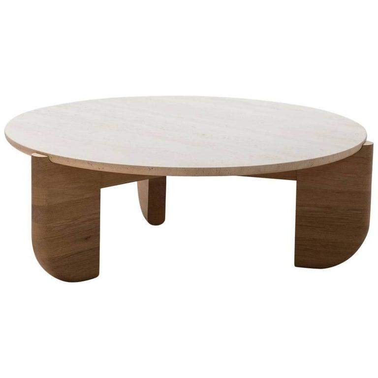 Tripod Coffee Table in White Oak and Travertine