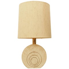 Travertine and Brass Table Lamp by Fratelli Manelli