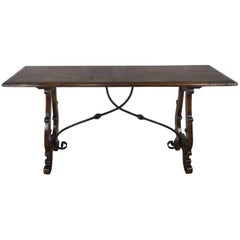Italian Walnut Inlaid Console with Wrought Iron Stretcher