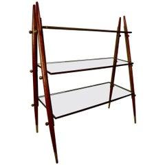 Oak Brass and Glass Shelf