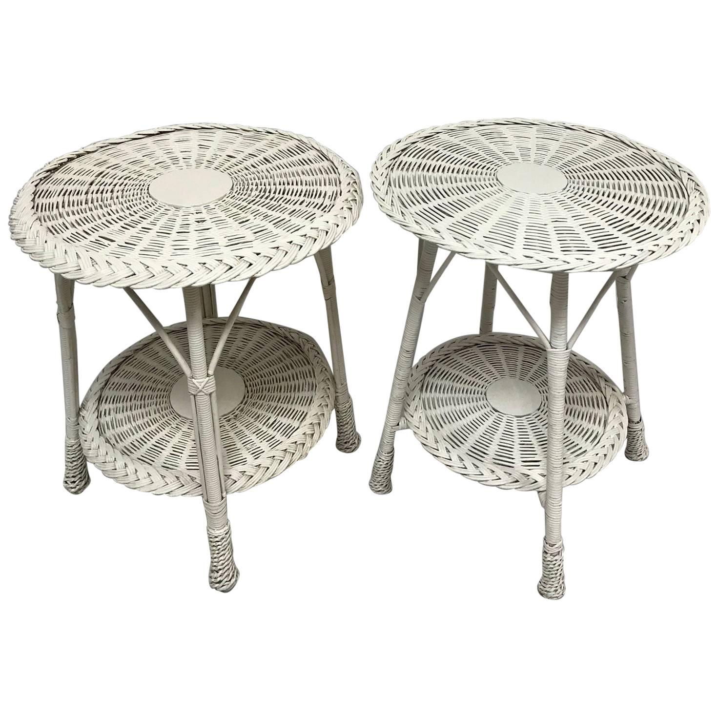 White Wicker Side Tables, 20th Century