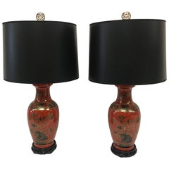 Red/Orange Chinoiserie Table Lamps, a Pair