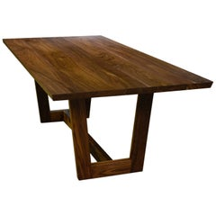 Solid Walnut Trestle Table with Bevelled Top