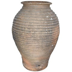 18th Century Andalusian Terra Cotta Ribbed Olive Jar from Spain