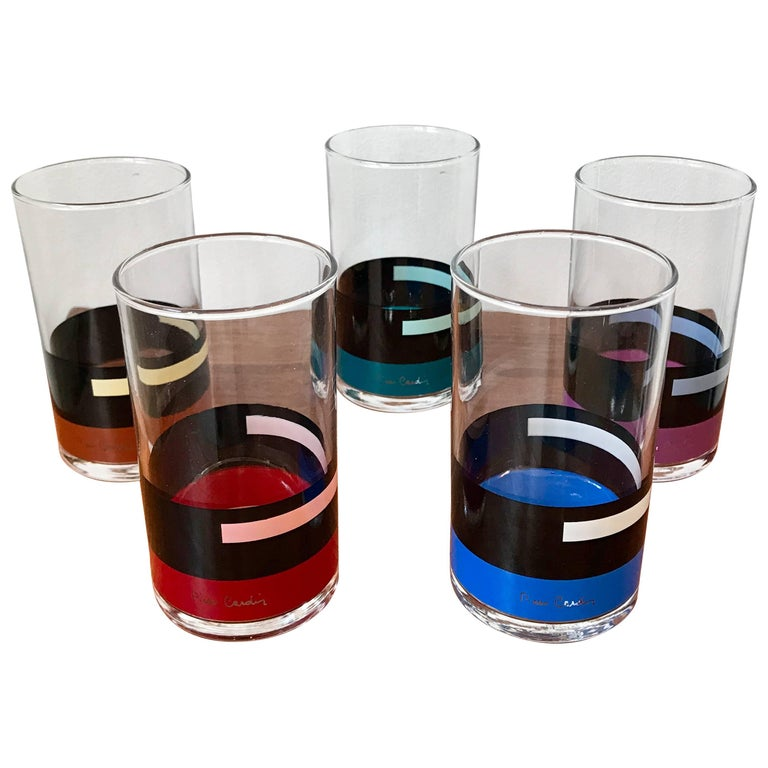 Rare Set of Five Pierre Cardin Modern Cocktail Glasses, 1980s, Japan