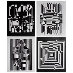 Modern Black and White Optical Pop Art Lithographs by Victor Vasarely
