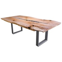 Live Edge Maple Tidepool Dining Table with Steel Base