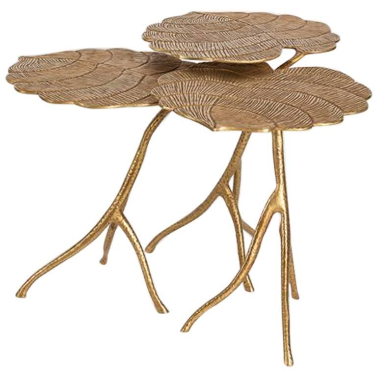 Franck Evennou, Taro, Set of Three Nesting Tables, Bronze, France, 2018