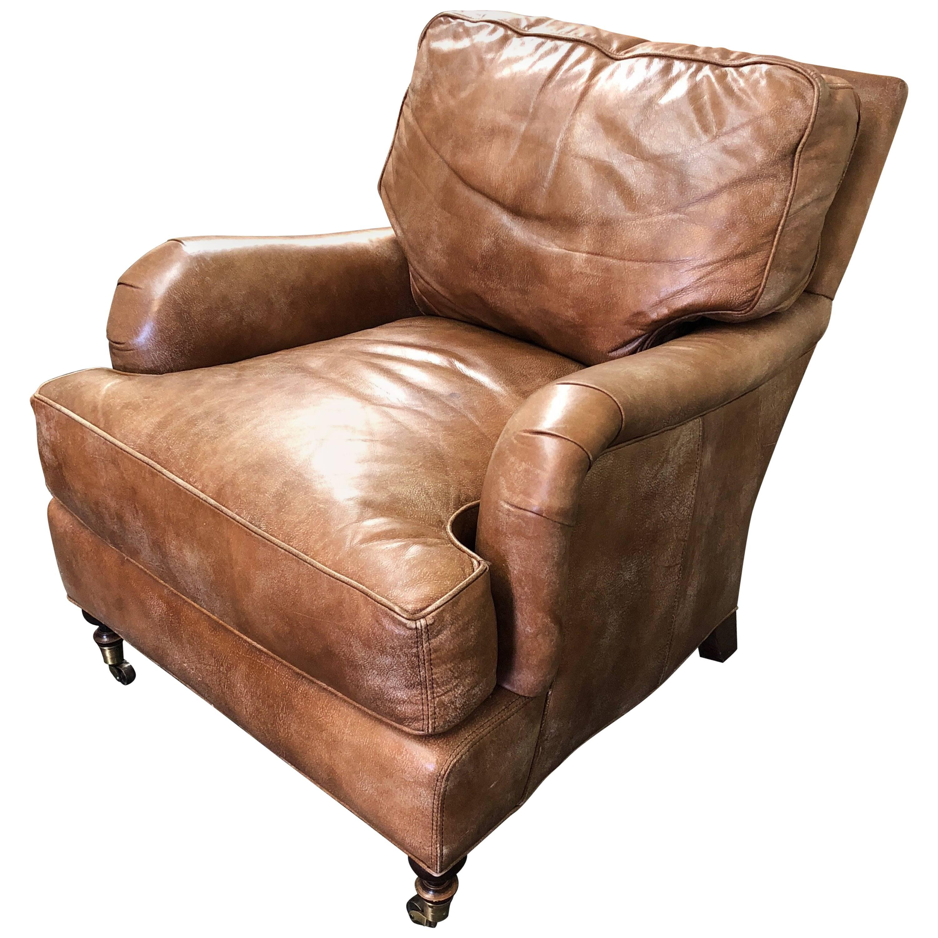 Lee Industries Distressed Leather Armchair