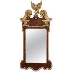George II Walnut and Parcel-Gilt Mirror