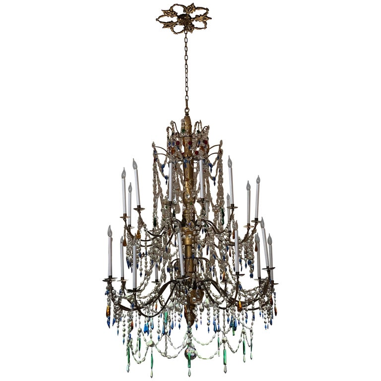 Massive 19th Century Italian Genoese Empire Crystal Chandelier