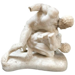 19th Century Carved Marble Sculpture of the Uffizi Wrestlers