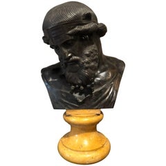 Italian Patinated Bronze Bust of Plato