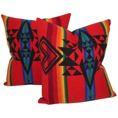 Vintage Pendleton Indian Design Camp Blanket Pillows, Pair