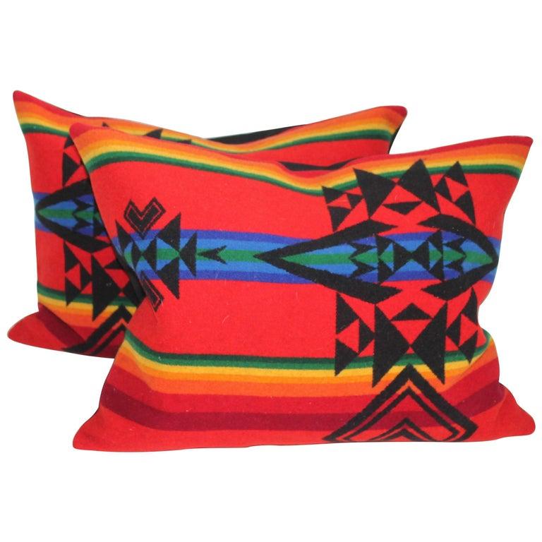 Pendelton Indian Design Camp Blanket Pillows, Pair