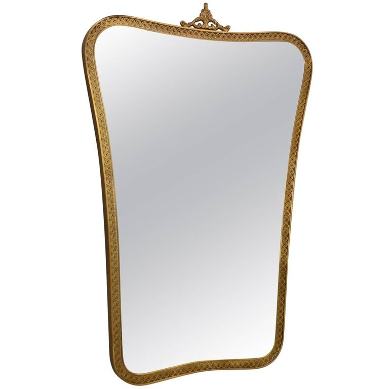 Italian Midcentury Brass Mirror with Decorations, 1950s