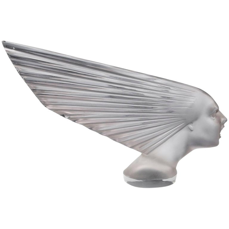 Rene Lalique Victoire Spirit of the Wind Glass Car Mascot, 20th Century