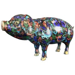 Vintage Uncommonly Large Chinese Cloisonné Pig