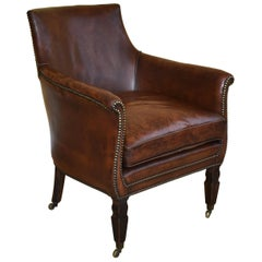 19th Century Regency Leather Library Chair