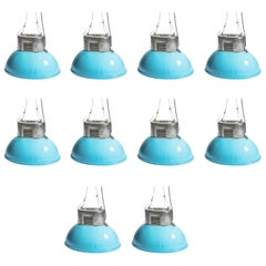 Industrial Vintage European Original Blue Steel Big Pendant Lamps