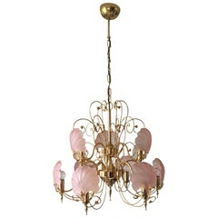 Deknudt Chique Vintage Pink and Gold Frosted Glass Shell Chandelier, circa 1970s
