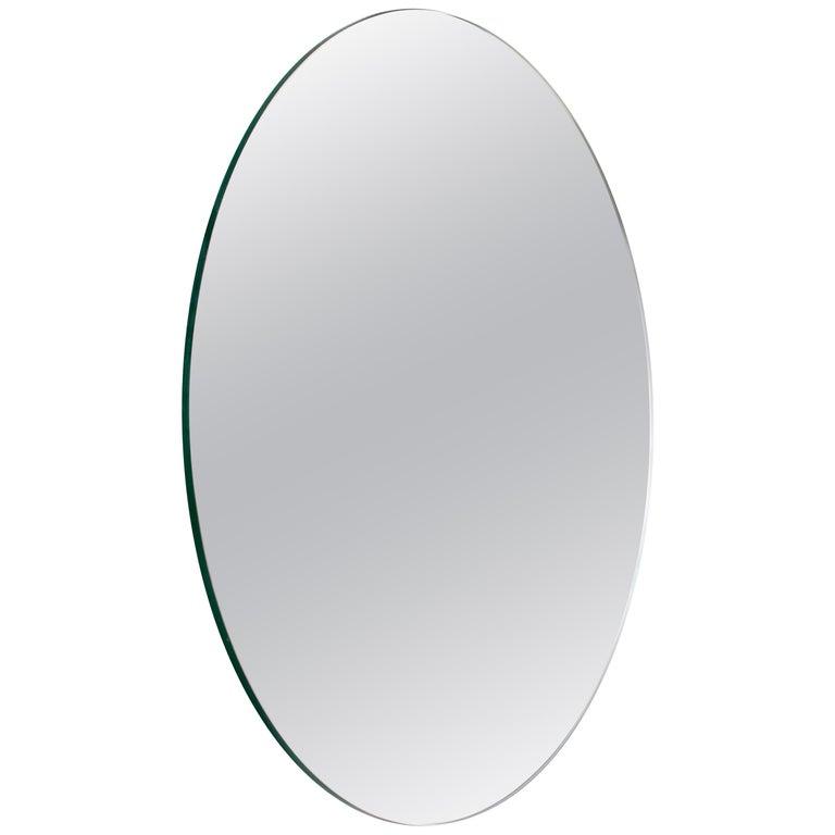 Modernist Silver Tinted Orbis Round Mirror Frameless, Medium, Customizable For Sale