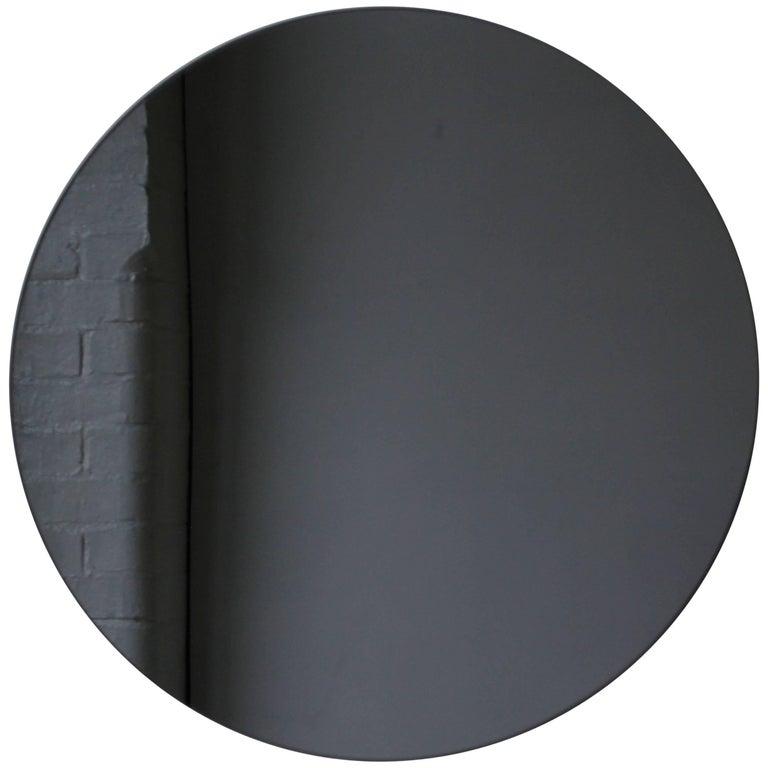 "Black Tinted Orbis Round Mirror Frameless - Dia. 40cm / 15.8"""