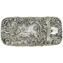 Elaborately Engraved Victorian Silver Case with Hunting Scene, Roberts & Belk
