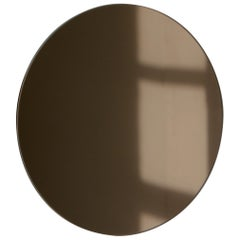 Modernist Bronze Tinted Orbis™ Round Mirror Frameless, Medium, Customizable