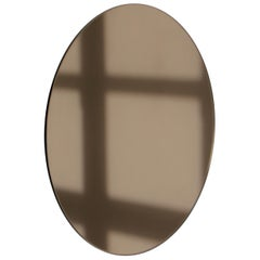 Modern Bronze Colour Tinted Orbis™ Circular Shaped Mirror Frameless, Handcrafted