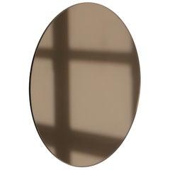 Modern Bronze Colour Tinted Orbis™ Circular Shaped Mirror Frameless, Small