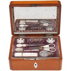 Antique Satinwood Palais Royal Sewing Box 19th Century
