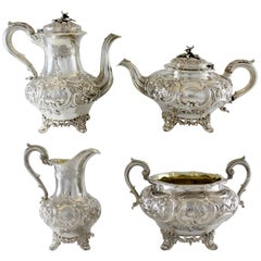 Antique Victorian Sterling Silver Tea / Coffee Service Set, London, 1840