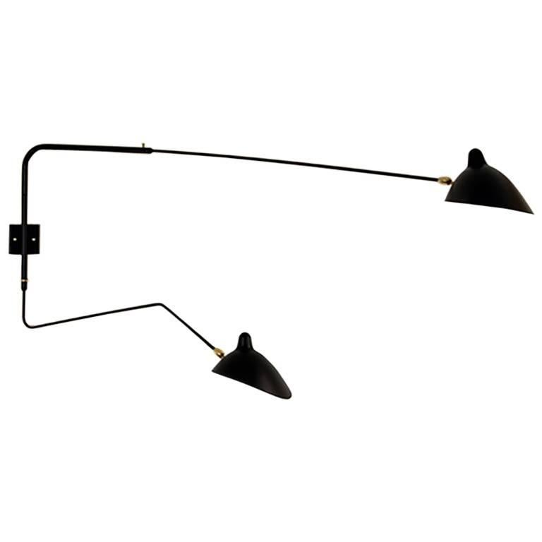 Serge Mouille Brass and Black Aluminum Mid-Century Modern Two-Arms Wall Lamp