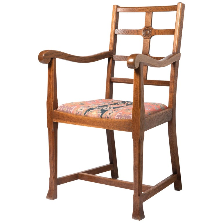 Early 20th Century Arts & Crafts Oak Framed Elbow Chair For Sale