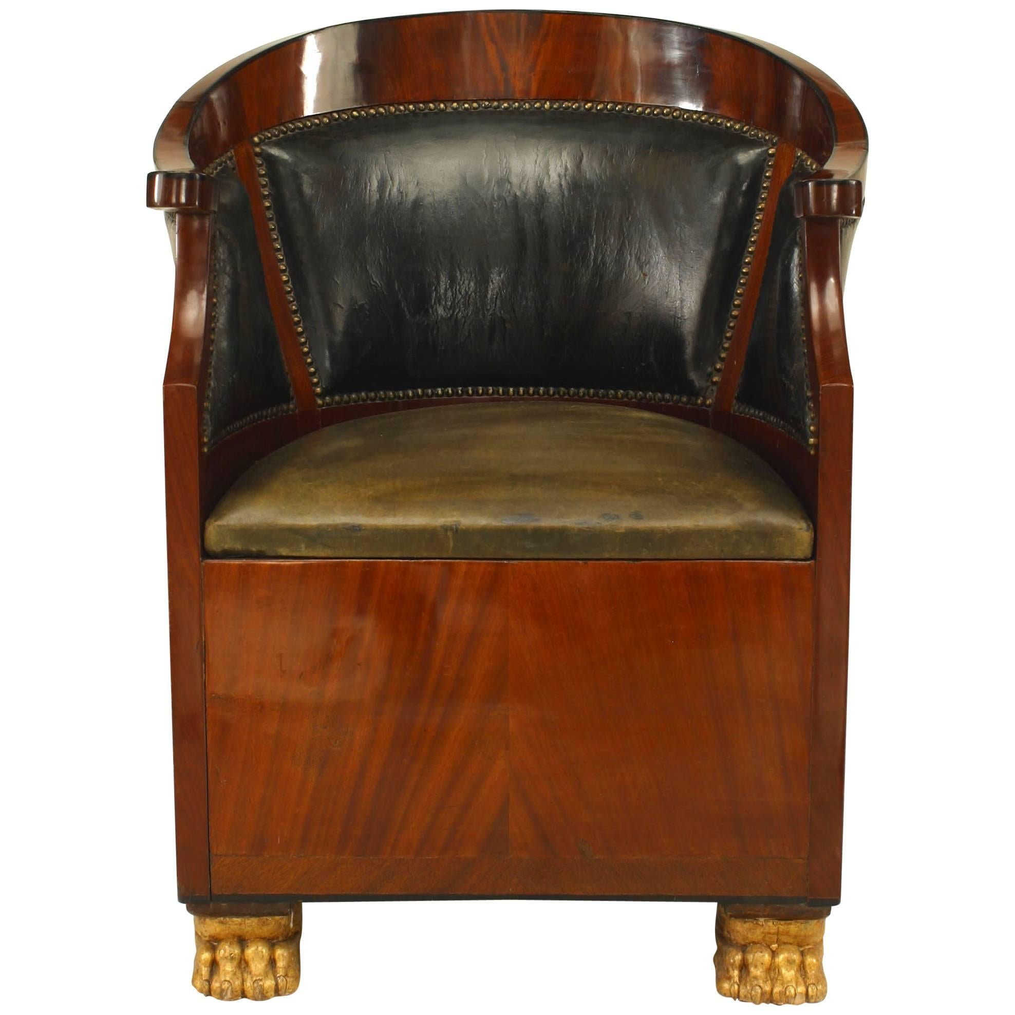 French Empire Style U002719th Centuryu0027 Leather Round Back Bergere Armchair ...