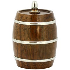 Sterling Silver and Wood Salt Grinder in Form of a Barrel by Mappin & Webb