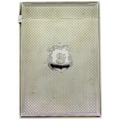 Antique Victorian Sterling Silver Card Case with Initials, 1857