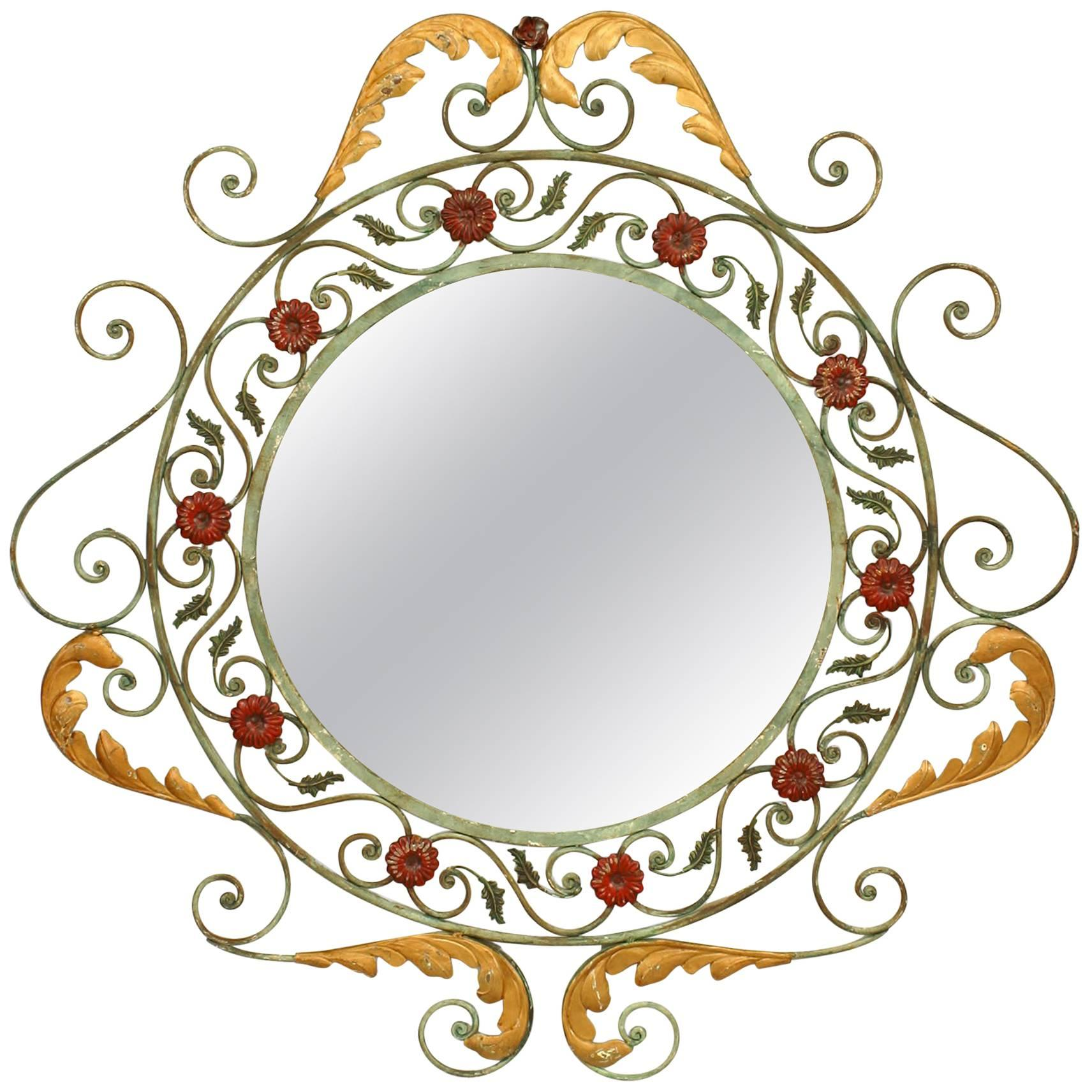 French Victorian Round Painted Wrought Iron Wall Mirror