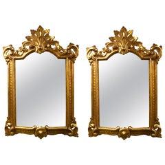 Pair of Vintage Italian Giltwood Mirrors